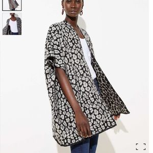 Loft Leopard Print Reversible Poncho